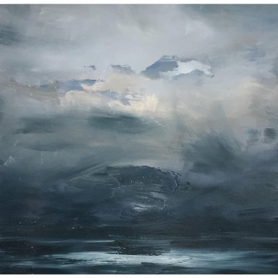 joris vanpoucke, painting, dmw gallery, seascape, marine in grey
