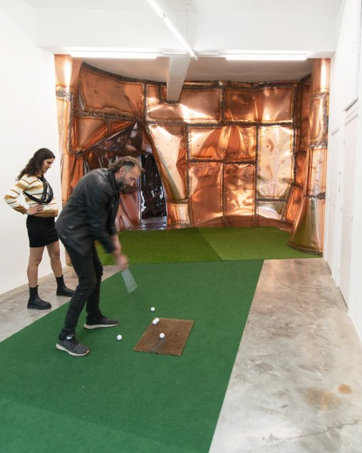 marius ritiu, dmw gallery, golf, is there anybody out there, solo exhibition, copper installation